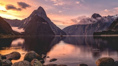 Fiordland National Park, Milford Sound, Mitre Peak, New Zealand, Sunset, Body of Water, Rocks, Lake, Reflection, Fog