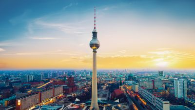 Berlin TV Tower, Berliner Fernsehturm, Germany, Landmark, Sunset, Cityscape, City lights, Clear sky, High rise building, Skyline, Skyscrapers