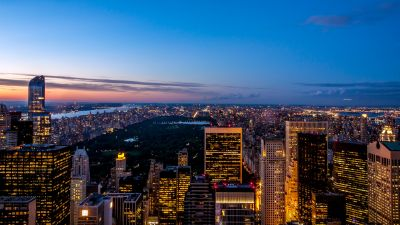 New York City, Skyline, Cityscape, City lights, Skyscrapers, Blue Sky, Dusk, Horizon