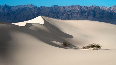 Mesquite Flat Sand Dunes, Death Valley National Park, Mountain range, Blue Sky, California, Desert, Landscape, Tourist attraction