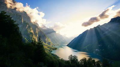 Klöntalersee Lake, Alps, Switzerland, Landscape, Mountains, Sunset, Sunrays, Clouds, Green Trees, Scenery