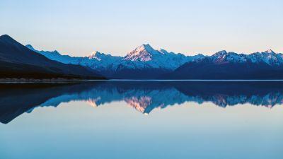 Mount Cook, Lake Pukaki, New Zealand, Sunset, Dusk, Mountain range, Snow covered, Reflection, Landscape, Scenery, 5K