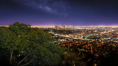 Los Angeles City, Cityscape, City lights, Night time, Horizon, Starry sky, Green Tree, Purple sky, Skyscrapers