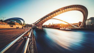Gateshead Millennium Bridge, United Kingdom, Landmark, River Tyne, Long exposure, Sunset, Body of Water, Boat, Curve, 5K