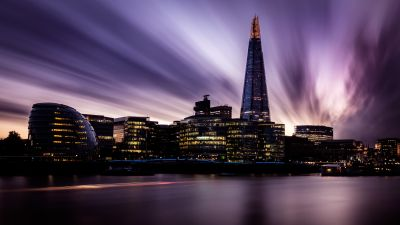 The Shard, London, England, Landmark, Cityscape, City lights, Skyscrapers, River Thames, City Hall, Skyline, Long exposure, Sunset, Purple sky