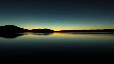 Paulina Lake, Oregon, Sunrise, Silhouette, Body of Water, Reflection, Landscape, Scenic, Dark Sky