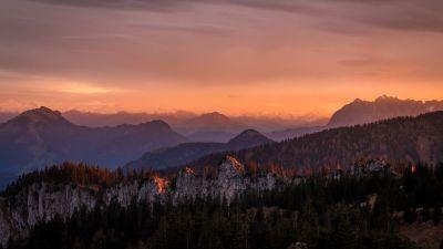 Alpenglow, Sunrise, Mountain range, Glacier mountains, Green Trees, Landscape