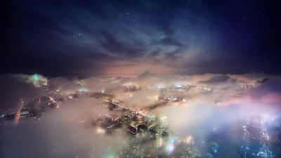 New York City, Cityscape, City lights, Aerial view, Skyline, Long exposure, Clouds, Starry sky, Skyscrapers, Digital composition