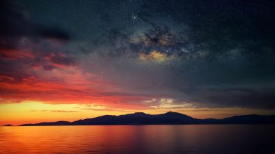 Corsica Island, Sunset Orange, Silhouette, Landscape, Astronomy, Galaxies, Milky Way, Starry sky, Scenery, Mountains