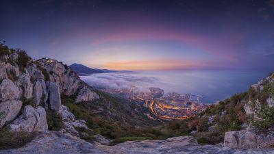 Monaco City, Aerial view, Sunrise, Foggy, Cityscape, City lights, Landscape, Purple sky, Long exposure, Mountains