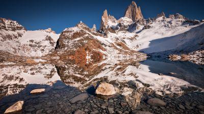 Laguna de los Tres, Iconic Trek, El Chaltén, Fitz Roy, Argentina, Mountain Peaks, Snow covered, Landscape, Reflection, Clear water, Los Glaciares National Park, Tourist attraction