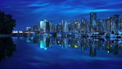 Coal Harbour, Vancouver City, Canada, Cityscape, Body of Water, Reflection, Blue background, Skyscrapers, City lights, Dusk, Boats, Skyline