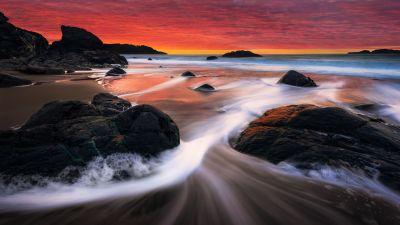 Marshall Beach, San Francisco, Sunset, Orange sky, Seascape, Long exposure, Ocean, Rocks, Scenery, Landscape
