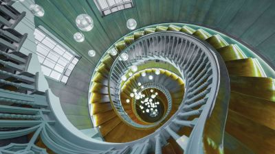 Spiral staircase, Chandelier, Wooden stairs, 5K, 8K