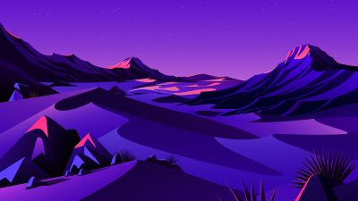 Lake, Mountains, Rocks, Twilight, Sunset, Starry sky, Purple sky, Scenery, Illustration, macOS Big Sur, iOS 14, Stock, 5K