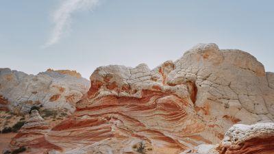 macOS Big Sur, Stock, Daytime, Sedimentary rocks, Daylight, Golden Sky, Summer, iOS 14, 5K