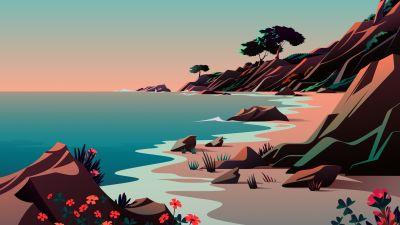 Beach, Landscape, Morning, Scenery, Illustration, macOS Big Sur, iOS 14, Stock, Aesthetic, 5K