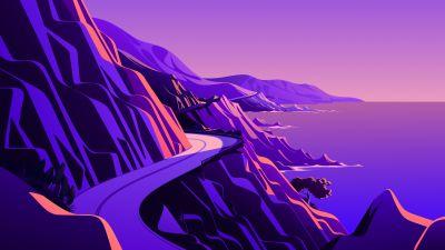 Coastline, Mountain pass, Road, Twilight, Sunset, Scenery, Illustration, macOS Big Sur, iOS 14, Stock, Aesthetic, 5K
