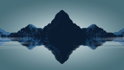 Mountains, Reflections, Minimal, Render, Digital composition, 5K