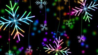 Snowflakes, Winter, AMOLED, Colorful, Black background, Bokeh
