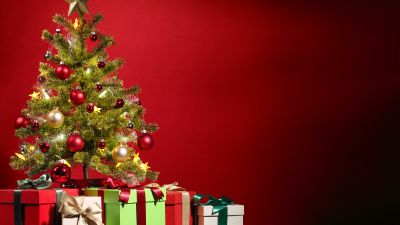 Christmas tree, Christmas decoration, Gifts, Christmas balls, Red background, 5K