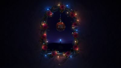 Christmas decoration, Merry Christmas, Night, Dark background, Lights, Garland