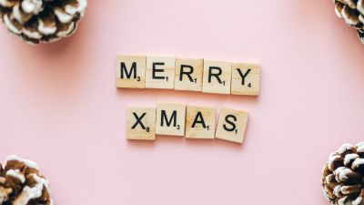Merry Christmas, Letters, Peach background, Christmas decoration