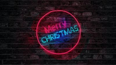 Merry Christmas, Neon, Brick wall, Dark, Colorful, Neon sign, 5K