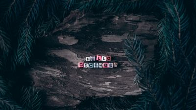 Hello December, Dice, Assorted, Wooden background, Pine branches, Christmas decoration, Letters, 5K