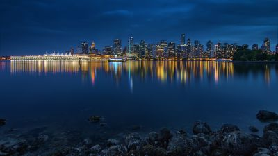 Vancouver City, Canada, Body of Water, Cityscape, City lights, Blue Sky, Night time, Skyscrapers, Reflection, Skyline, Long exposure