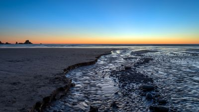 Indian Beach, Oregon, Seascape, Coastal, Sunset, Blue Sky, Horizon, Rocks, 5K