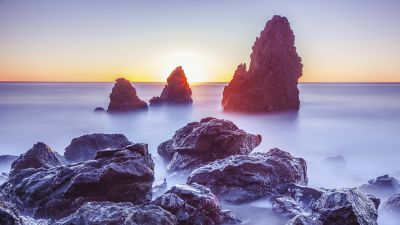 Rodeo Beach, Marin Headlands, California, Sunset, Rocky coast, Long exposure, Seascape, Ocean, Horizon