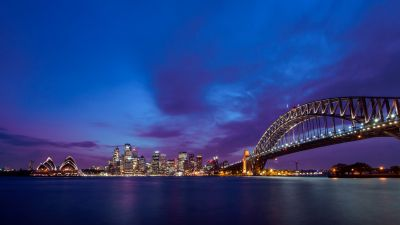 Sydney Harbour Bridge, Sydney Opera House, Metal structure, Australia, Cityscape, City lights, Purple sky, Skyscrapers, Night time, Body of Water, Dusk, 5K