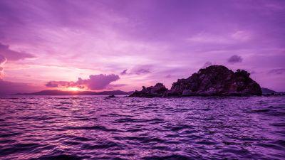British Virgin Islands, Purple sky, Body of Water, Waves, Sunset, Seascape, Tropical, 5K