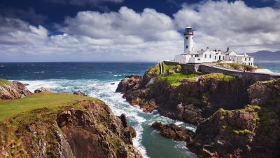 Fanad Lighthouse, Ireland, Coastal, Ocean, Seascape, Cloudy Sky, Rocky coast, Cliffs, Landscape, Horizon