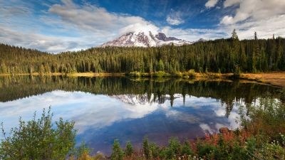 Mirror Lake, Green Trees, Forest, Glacier mountains, Snow covered, Cloudy Sky, Reflection, Body of Water, Landscape, Scenery
