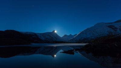 Moonrise, Blue Sky, Mountains, Snow Covered, Lake, Landscape, Reflection, Night time, Twilight, Long exposure, 5K