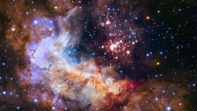 Westerlund 2, Celestial fireworks, Star cluster, Constellation, Astronomy, Galaxy, Milky Way, Burning Stars, 5K