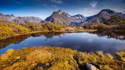 Key Summit, New Zealand, Hiking area, Lake, Reflection, Green Moss, Mountain range, Landscape, Green Trees, Clear sky