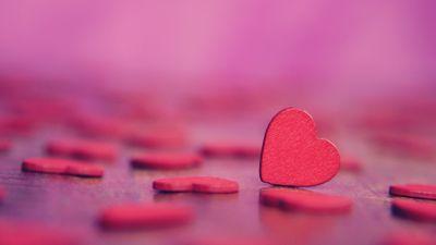 Love hearts, Pink hearts, Bokeh, Alone