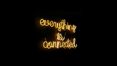 Everything is connected, Neon sign, Black background, Yellow