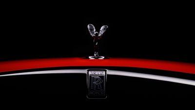 Rolls-Royce Dawn Black Badge, Spirit of Ecstasy, 2021, Black background, AMOLED, 5K, 8K