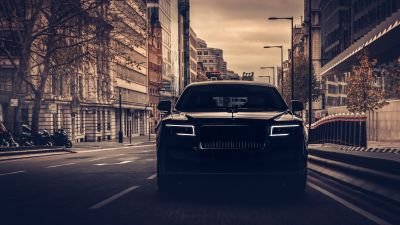 Rolls-Royce Ghost, 2021, Dark, Black cars, 5K