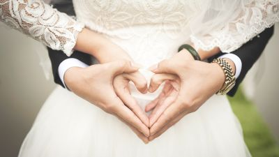 Love heart, Hands together, Wedding outfit, Couple, Bride, Bridegroom, Marriage