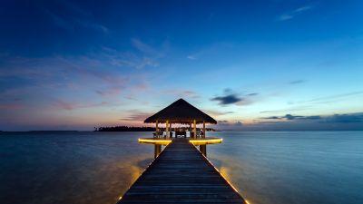 Kihaadhuffaru Island, Maldives, Water Villa, Wooden pier, Seascape, Body of Water, Blue Sky, Landscape, Scenic, Long exposure, Sunset, Tropical, Horizon