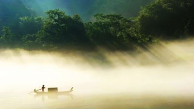 Fisherman, Misty, Forest, Green Trees, Silhouette, Countryside, Fishing boat, Landscape, Hunan Province, China, Scenery, Lake