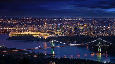 Lions Gate Bridge, Vancouver City, Canada, Cityscape, City lights, Night time, Horizon, Dark Sky, Long exposure, Suspension bridge