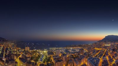 Monaco Yacht Show, Cityscape, City lights, Night time, Ocean, Seascape, Sunset, Crescent Moon, Starry sky