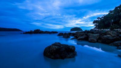 Kata Beach, Phuket, Thailand, Rocky coast, Seascape, Long exposure, Blue Sky, Twilight, Ocean, Dusk