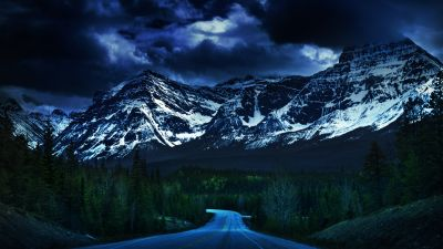 Icefields Parkway, Canadian Rockies, Dusk, Dark Clouds, Stormy, Empty Road, Glacier Mountains, Snow covered, Green Trees, Landscape, Scenery